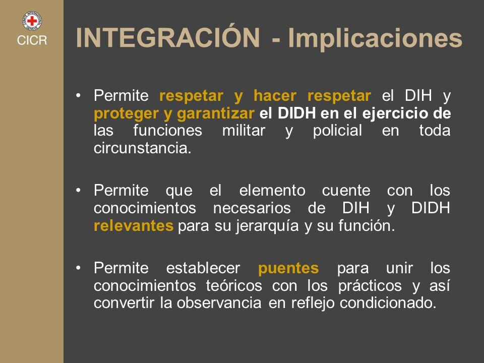 INTEGRACIÓN - Implicaciones Permite respetar y hacer respetar el DIH y proteger y garantizar el DIDH en el ejercicio de las funciones militar y polici