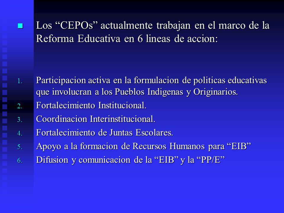 Los CEPOs actualmente trabajan en el marco de la Reforma Educativa en 6 lineas de accion: Los CEPOs actualmente trabajan en el marco de la Reforma Edu