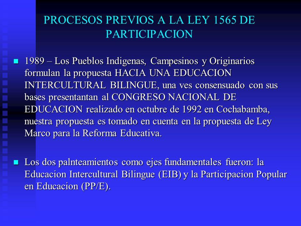 PROYECTO DE EDUCACION INTERCULTURAL BILINGUE 1990-4 El Proyecto de Educacion Intercultural Bilingue, se desarrolla en las 3 regiones donde estan situados los Pueblos Indigenas y Originarios, es decir: Quechua, Aimara, Guarani 1990-4 El Proyecto de Educacion Intercultural Bilingue, se desarrolla en las 3 regiones donde estan situados los Pueblos Indigenas y Originarios, es decir: Quechua, Aimara, Guarani Cuatro anos de molestar, gestionar, realizar movilizaciones con propuestas serias ante el gobierno de turno, a si como trabajar en la sencibilizacion en las comunidades, logra que nuestra propuesta se convierta en ejes fundamentales de la Ley de Reforma Educativa.