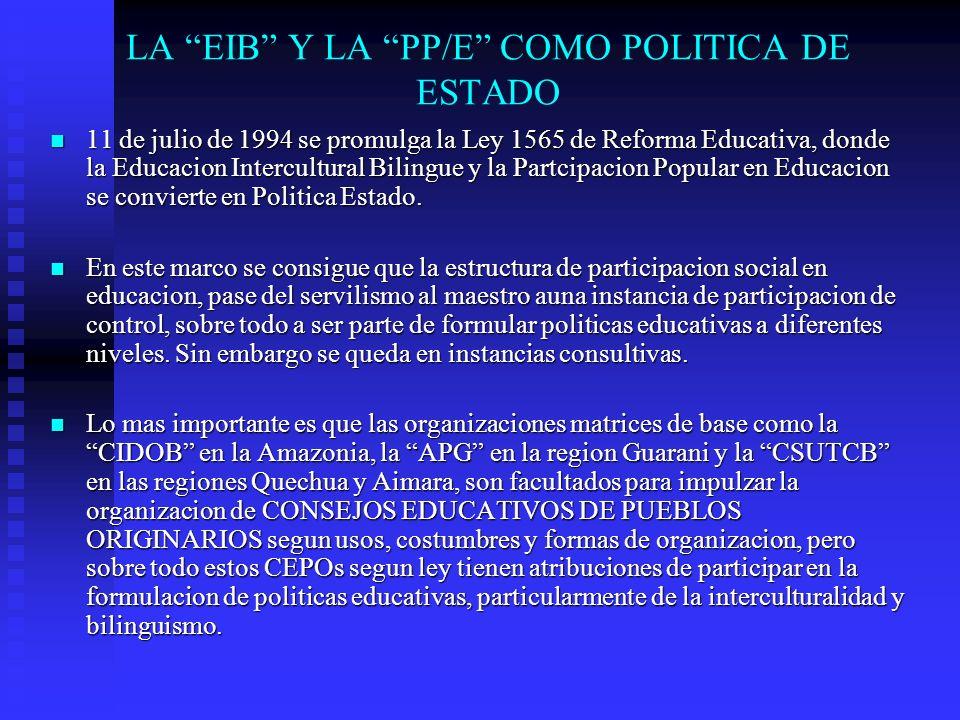 LA EIB Y LA PP/E COMO POLITICA DE ESTADO 11 de julio de 1994 se promulga la Ley 1565 de Reforma Educativa, donde la Educacion Intercultural Bilingue y