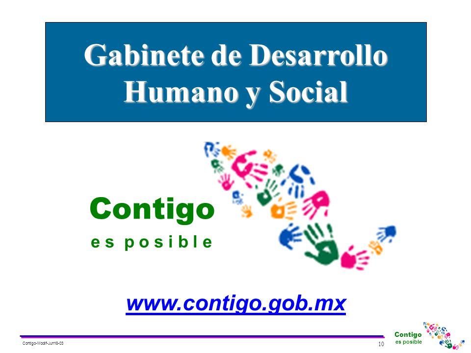 Contigo es posible 10 Contigo-Modif-Jun18-03 Contigo e s p o s i b l e www.contigo.gob.mx Gabinete de Desarrollo Humano y Social