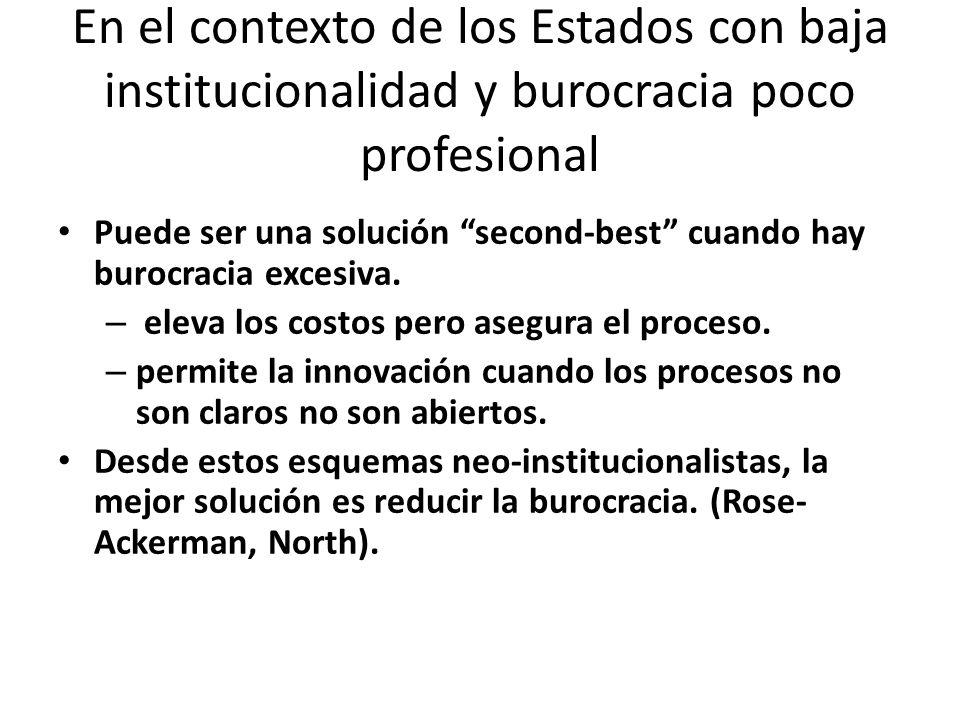 En el contexto de los Estados con baja institucionalidad y burocracia poco profesional Puede ser una solución second-best cuando hay burocracia excesiva.