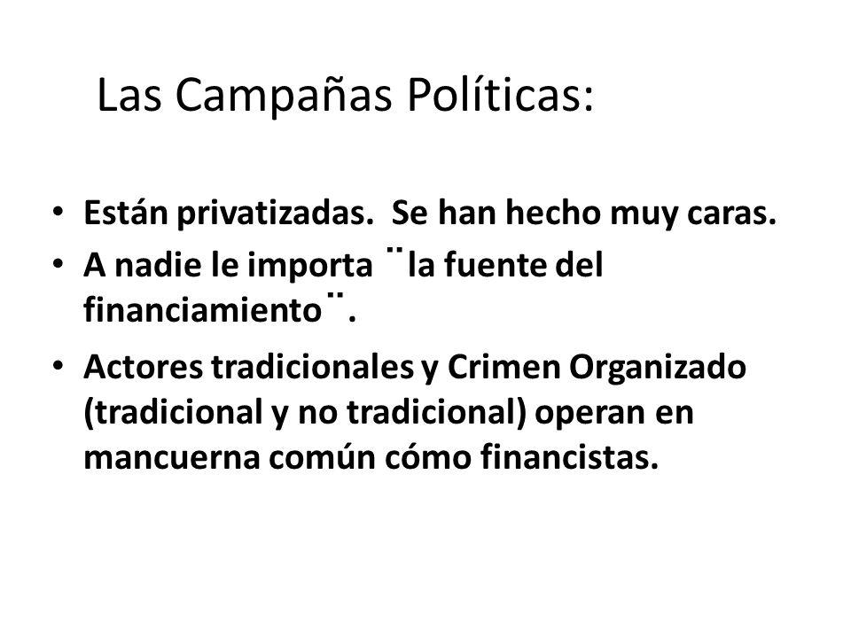 Las Campañas Políticas: Están privatizadas. Se han hecho muy caras.