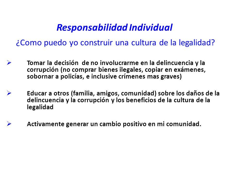Responsabilidad Individual ¿Como puedo yo construir una cultura de la legalidad.