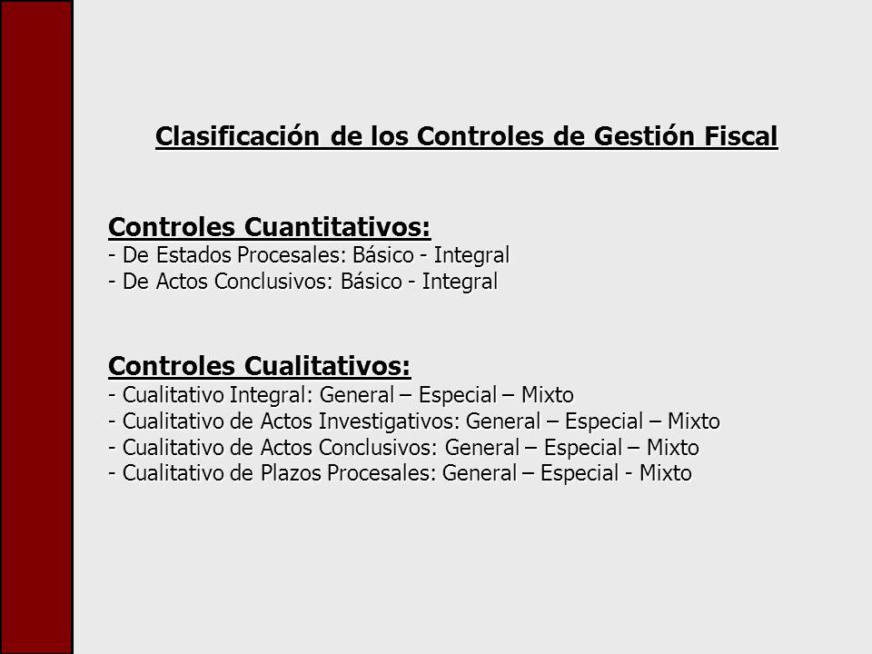 Clasificación de los Controles de Gestión Fiscal Controles Cuantitativos: - De Estados Procesales: Básico - Integral - De Actos Conclusivos: Básico - Integral Controles Cualitativos: - Cualitativo Integral: General – Especial – Mixto - Cualitativo de Actos Investigativos: General – Especial – Mixto - Cualitativo de Actos Conclusivos: General – Especial – Mixto - Cualitativo de Plazos Procesales: General – Especial - Mixto