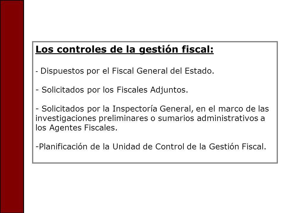 Los controles de la gestión fiscal: - Dispuestos por el Fiscal General del Estado. - Solicitados por los Fiscales Adjuntos. - Solicitados por la Inspe