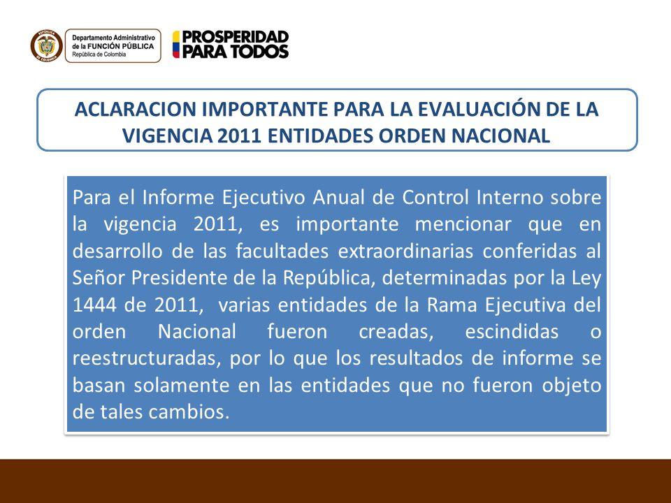 ACLARACION IMPORTANTE PARA LA EVALUACIÓN DE LA VIGENCIA 2011 ENTIDADES ORDEN NACIONAL Para el Informe Ejecutivo Anual de Control Interno sobre la vige