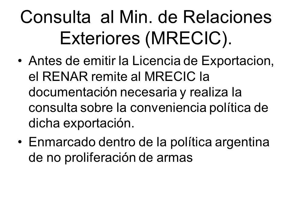 Consulta al Min. de Relaciones Exteriores (MRECIC). Antes de emitir la Licencia de Exportacion, el RENAR remite al MRECIC la documentación necesaria y