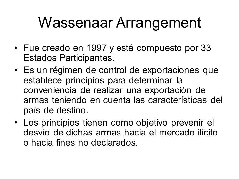 Wassenaar Arrangement Fue creado en 1997 y está compuesto por 33 Estados Participantes. Es un régimen de control de exportaciones que establece princi
