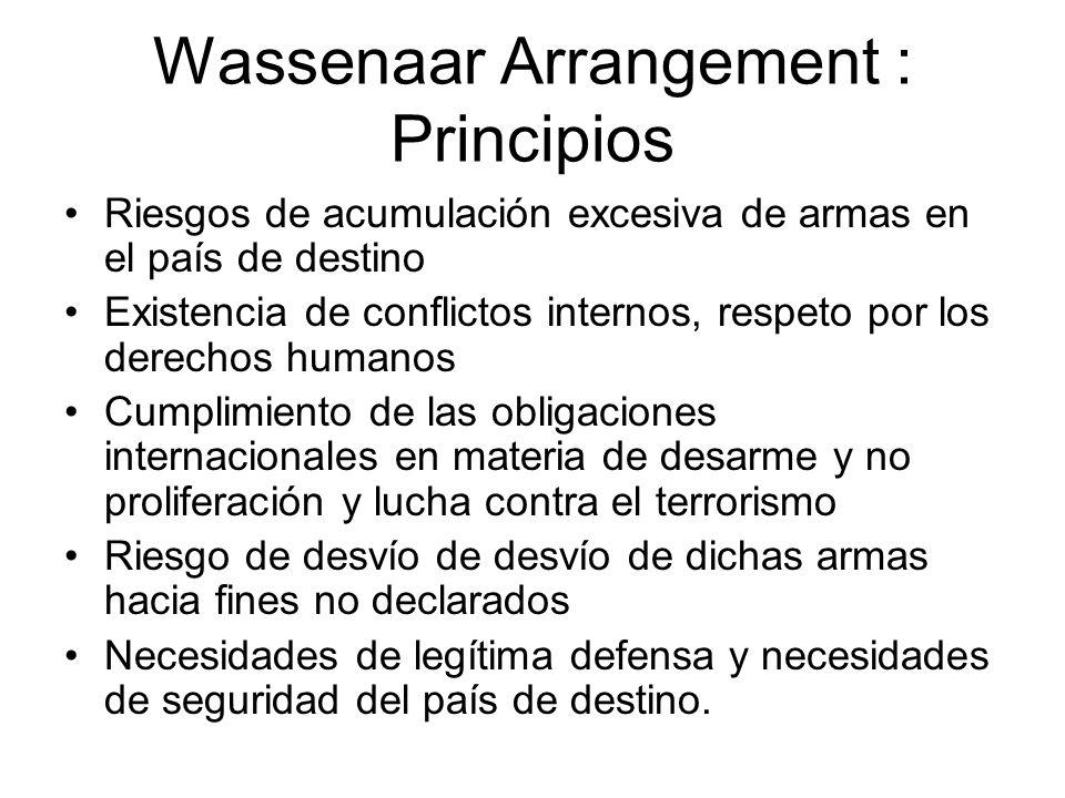 Wassenaar Arrangement : Principios Riesgos de acumulación excesiva de armas en el país de destino Existencia de conflictos internos, respeto por los d
