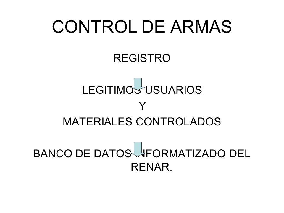 Materiales Controlados: Competencia Organismos 1.ARMAS DE FUEGO DE USO CIVIL Y USO CIVIL CONDICIONAL, MUNICIONES, EXPLOSIVOS Y OTROS MATERIALES.