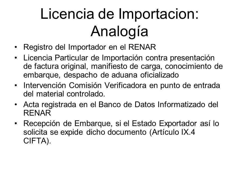 Licencia de Importacion: Analogía Registro del Importador en el RENAR Licencia Particular de Importación contra presentación de factura original, mani