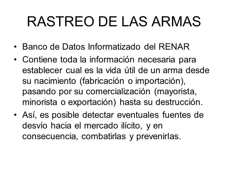 RASTREO DE LAS ARMAS Banco de Datos Informatizado del RENAR Contiene toda la información necesaria para establecer cual es la vida útil de un arma des