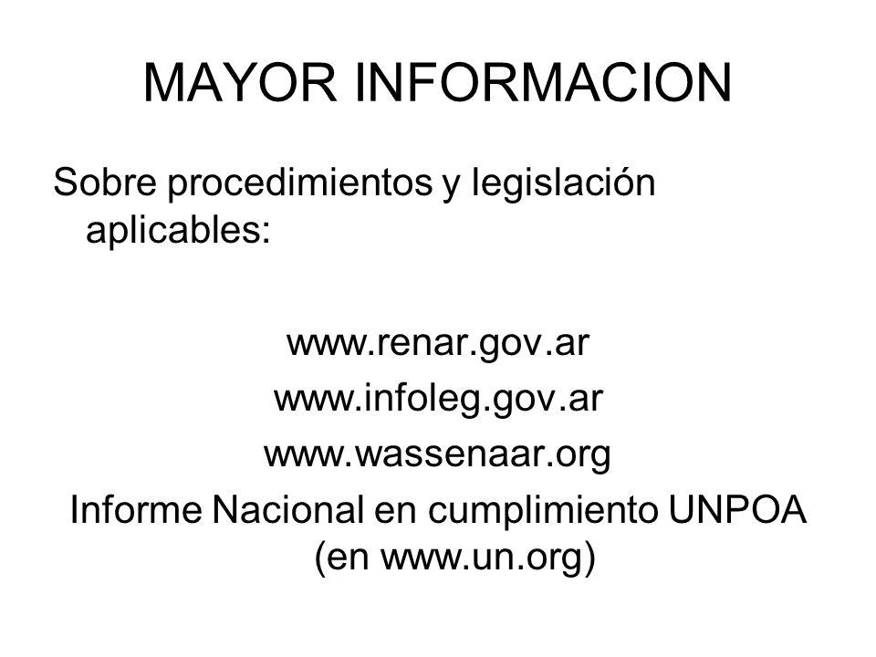 MAYOR INFORMACION Sobre procedimientos y legislación aplicables: www.renar.gov.ar www.infoleg.gov.ar www.wassenaar.org Informe Nacional en cumplimient