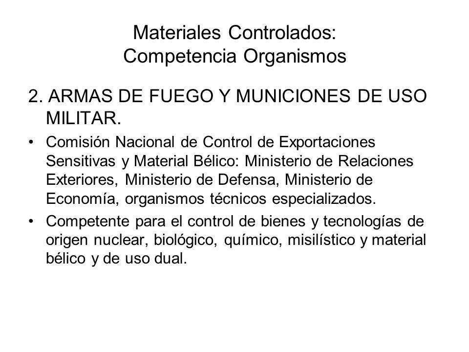 Materiales Controlados: Competencia Organismos 2. ARMAS DE FUEGO Y MUNICIONES DE USO MILITAR. Comisión Nacional de Control de Exportaciones Sensitivas