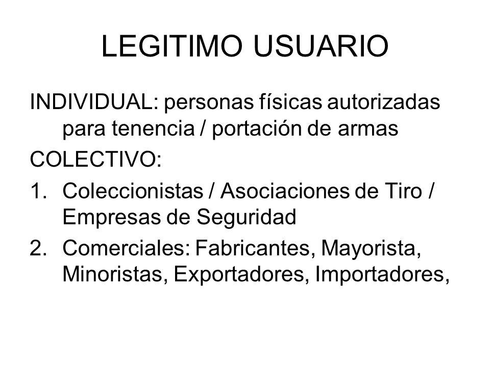 LEGITIMO USUARIO INDIVIDUAL: personas físicas autorizadas para tenencia / portación de armas COLECTIVO: 1.Coleccionistas / Asociaciones de Tiro / Empr