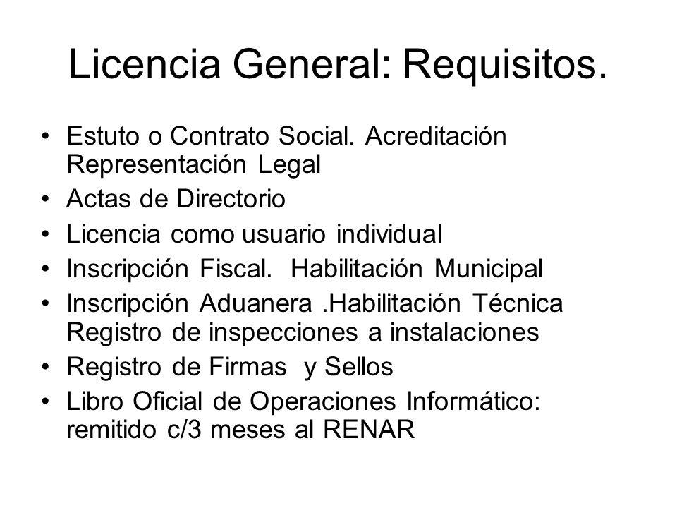 Licencia General: Requisitos. Estuto o Contrato Social. Acreditación Representación Legal Actas de Directorio Licencia como usuario individual Inscrip