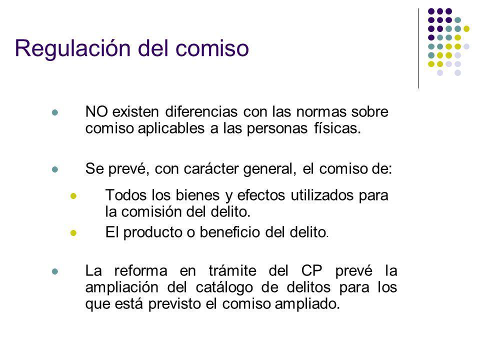 Regulación del comiso NO existen diferencias con las normas sobre comiso aplicables a las personas físicas. Se prevé, con carácter general, el comiso