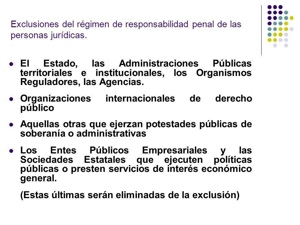 Exclusiones del régimen de responsabilidad penal de las personas jurídicas. El Estado, las Administraciones Públicas territoriales e institucionales,