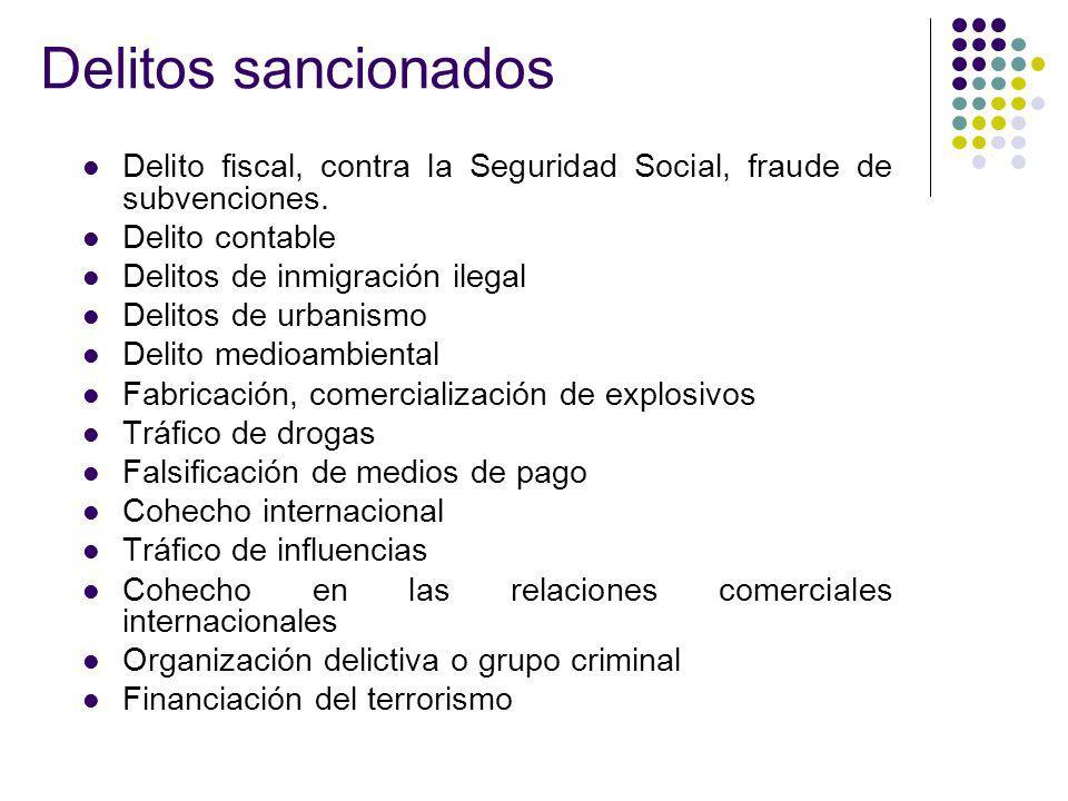 Delitos sancionados Delito fiscal, contra la Seguridad Social, fraude de subvenciones. Delito contable Delitos de inmigración ilegal Delitos de urbani