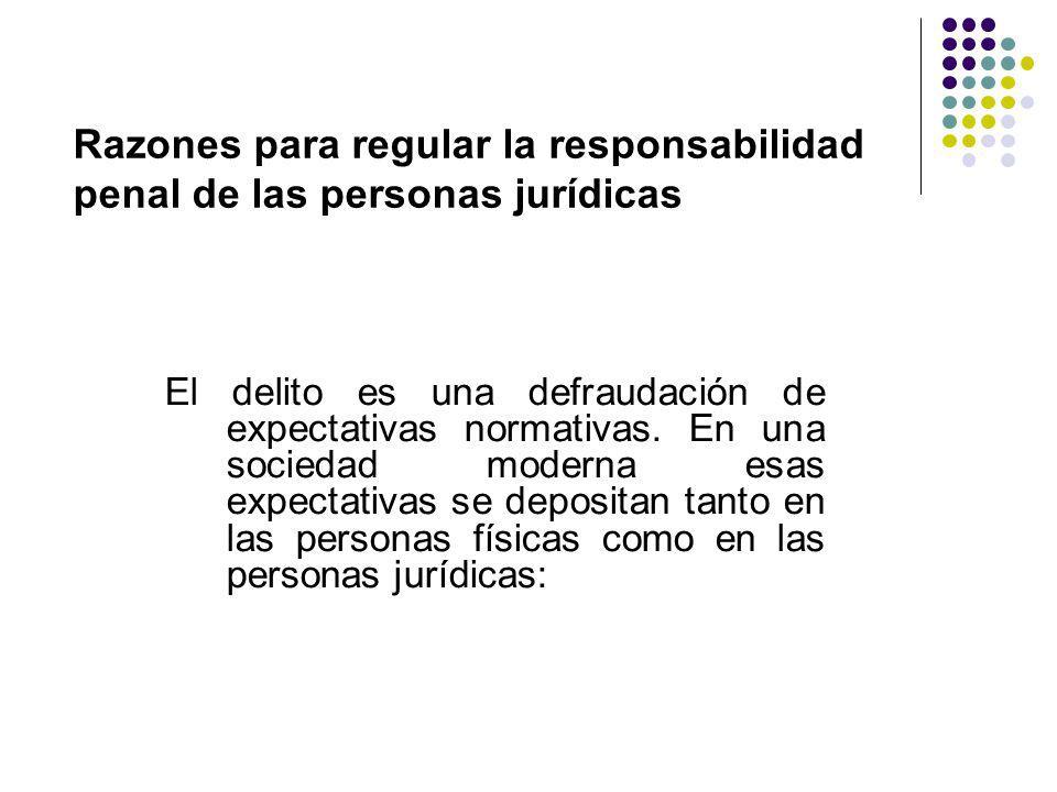 Razones para regular la responsabilidad penal de las personas jurídicas El delito es una defraudación de expectativas normativas. En una sociedad mode