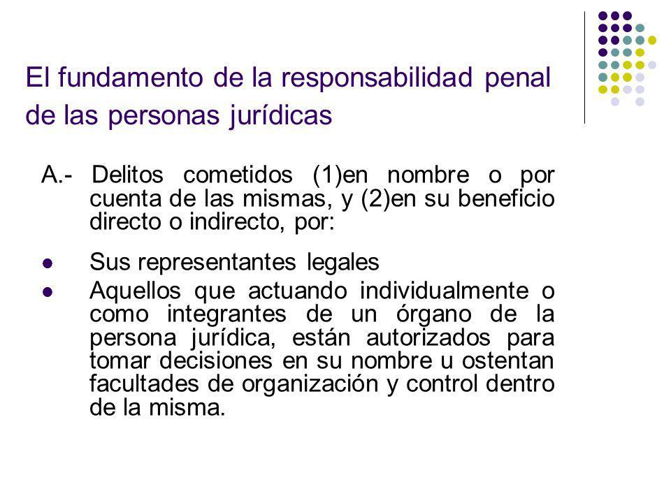 El fundamento de la responsabilidad penal de las personas jurídicas A.- Delitos cometidos (1)en nombre o por cuenta de las mismas, y (2)en su benefici