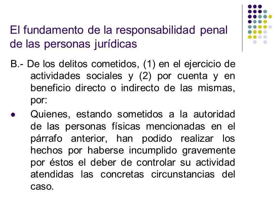 El fundamento de la responsabilidad penal de las personas jurídicas B.- De los delitos cometidos, (1) en el ejercicio de actividades sociales y (2) po