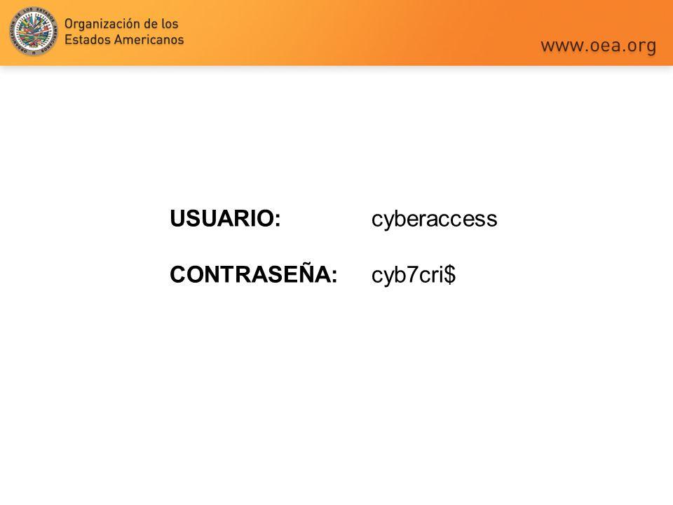 USUARIO: cyberaccess CONTRASEÑA: cyb7cri$