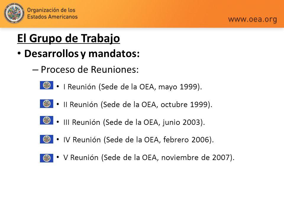 Desarrollos y mandatos: – Proceso de Reuniones: I Reunión (Sede de la OEA, mayo 1999). II Reunión (Sede de la OEA, octubre 1999). III Reunión (Sede de