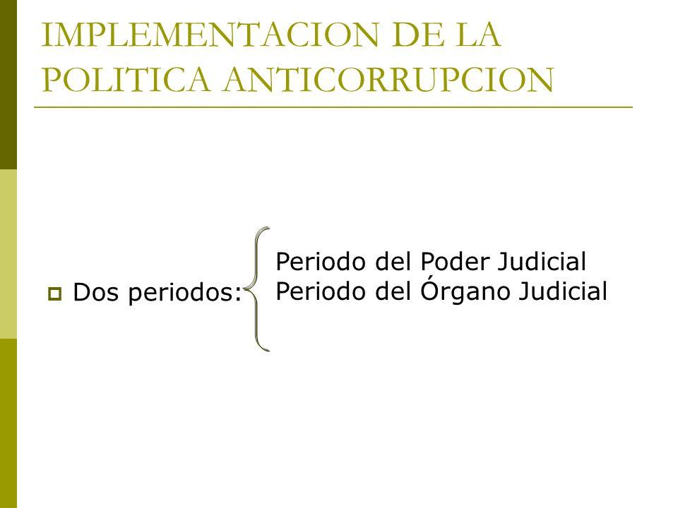 IMPLEMENTACION DE LA POLITICA ANTICORRUPCION Dos periodos: Periodo del Poder Judicial Periodo del Órgano Judicial