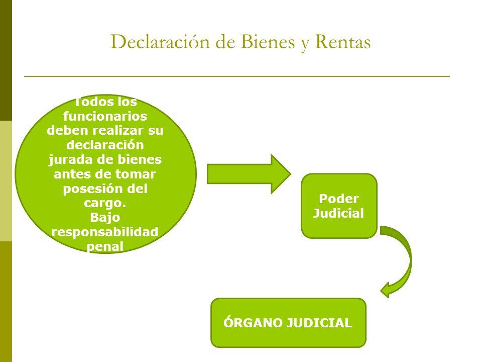 Declaración de Bienes y Rentas Todos los funcionarios deben realizar su declaración jurada de bienes antes de tomar posesión del cargo. Bajo responsab