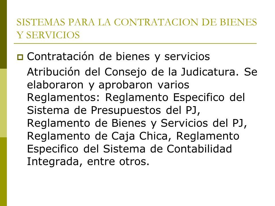 SISTEMAS PARA LA CONTRATACION DE BIENES Y SERVICIOS Contratación de bienes y servicios Atribución del Consejo de la Judicatura. Se elaboraron y aproba