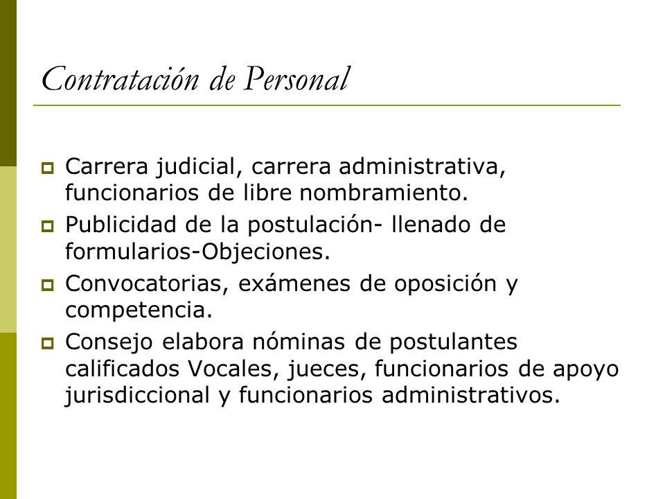 Contratación de Personal Carrera judicial, carrera administrativa, funcionarios de libre nombramiento. Publicidad de la postulación- llenado de formul