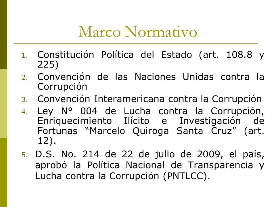 Marco Normativo 1. Constitución Política del Estado (art. 108.8 y 225) 2. Convención de las Naciones Unidas contra la Corrupción 3. Convención Interam