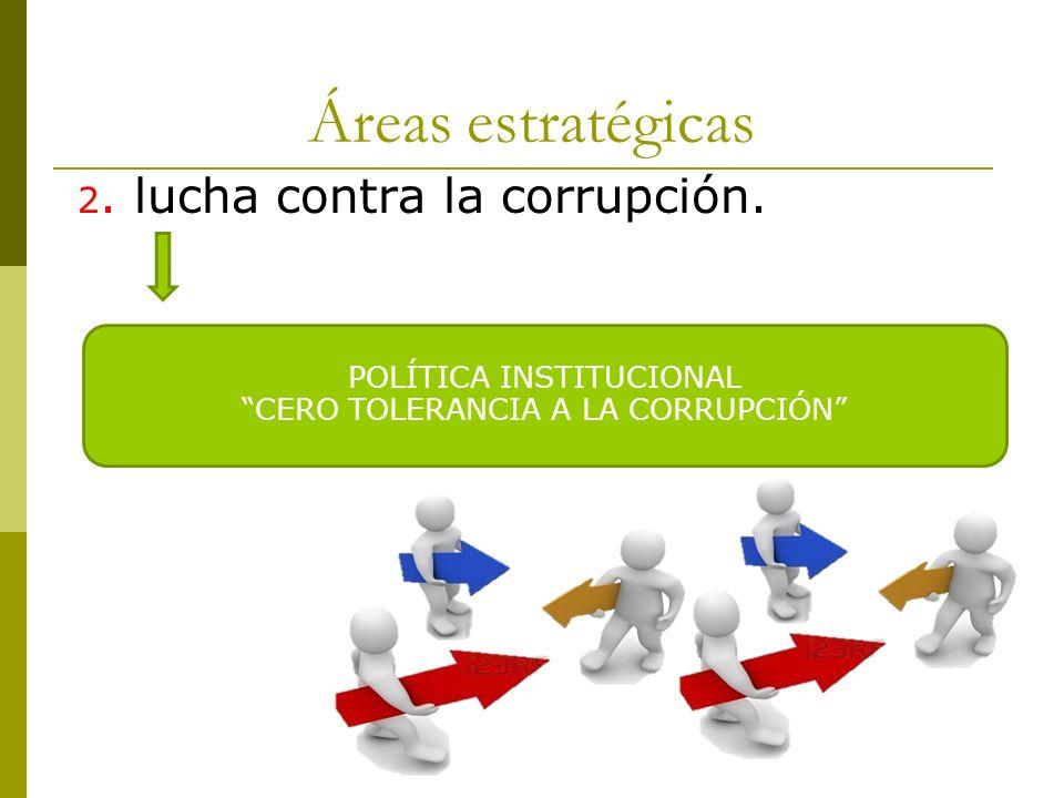 Áreas estratégicas 2. lucha contra la corrupción. POLÍTICA INSTITUCIONAL CERO TOLERANCIA A LA CORRUPCIÓN
