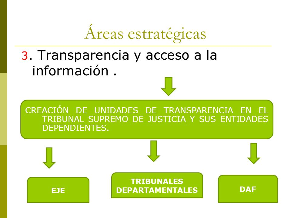 Áreas estratégicas 3. Transparencia y acceso a la información. CREACIÓN DE UNIDADES DE TRANSPARENCIA EN EL TRIBUNAL SUPREMO DE JUSTICIA Y SUS ENTIDADE