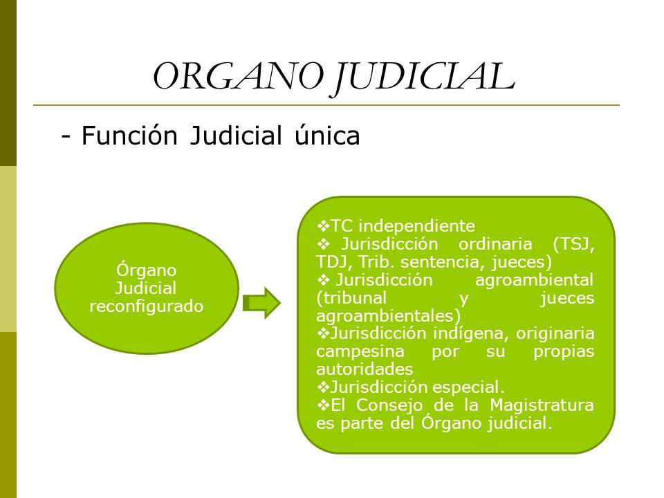ORGANO JUDICIAL - Función Judicial única Órgano Judicial reconfigurado TC independiente Jurisdicción ordinaria (TSJ, TDJ, Trib. sentencia, jueces) Jur