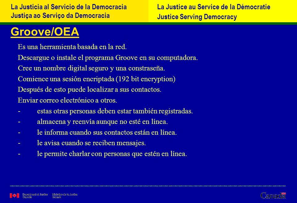 La Justicia al Servicio de la Democracia Justiça ao Serviço da Democracia La Justice au Service de la Démocratie Justice Serving Democracy Groove/OEA Es una herramienta basada en la red.