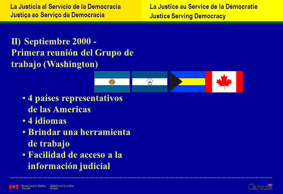 La Justicia al Servicio de la Democracia Justiça ao Serviço da Democracia La Justice au Service de la Démocratie Justice Serving Democracy III) 2001 – Iniciativas posteriores a la Cumbre de Québec – plan de acción IV) Marzo 2002 – REMJA IV (Puerto España, Trinidad) Extender a los 34 paίses miembros OEA