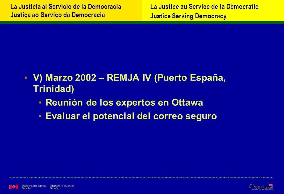 La Justicia al Servicio de la Democracia Justiça ao Serviço da Democracia La Justice au Service de la Démocratie Justice Serving Democracy i-Primera réunión de los expertos - Ottawa http://www.oas.org/juridico/spanish/reunione.html ii-Correo seguro –Resultado de un sondeo realizado por y con las autoridades centrales de la OEA antes la REMJA IV en 2002 –La parte confidencial del sitio está bien, pero… –Necesitamos una comunicación rápida y secreta entre dos puntos de contacto