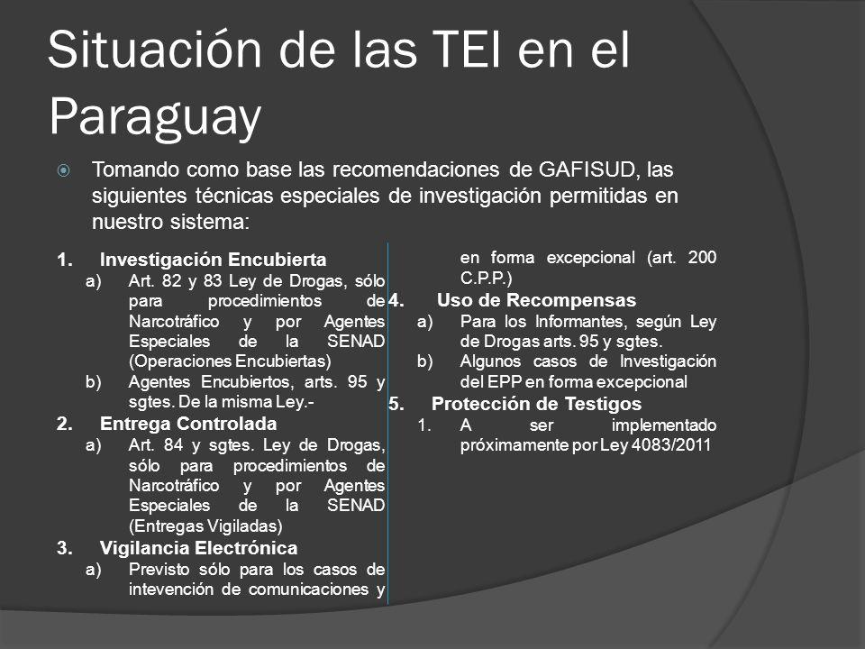Situación de las TEI en el Paraguay Tomando como base las recomendaciones de GAFISUD, las siguientes técnicas especiales de investigación permitidas en nuestro sistema: 1.Investigación Encubierta a)Art.