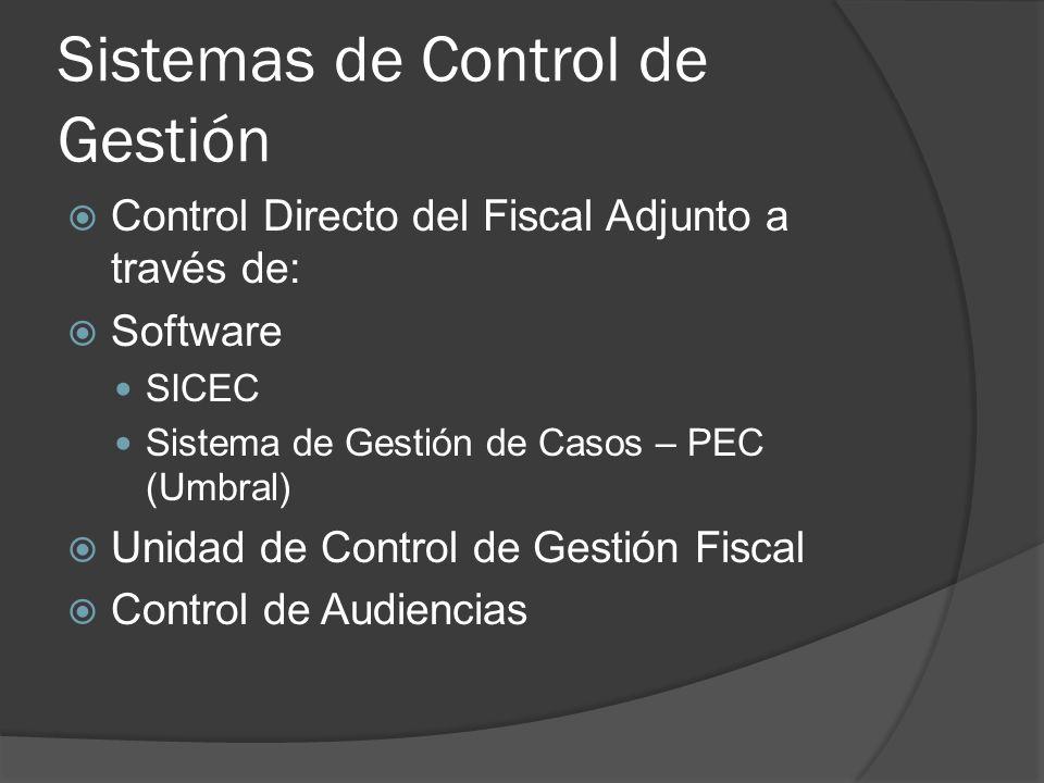 Sistemas de Control de Gestión Control Directo del Fiscal Adjunto a través de: Software SICEC Sistema de Gestión de Casos – PEC (Umbral) Unidad de Control de Gestión Fiscal Control de Audiencias