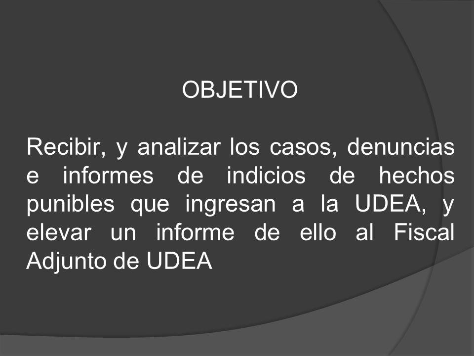OBJETIVO Recibir, y analizar los casos, denuncias e informes de indicios de hechos punibles que ingresan a la UDEA, y elevar un informe de ello al Fiscal Adjunto de UDEA