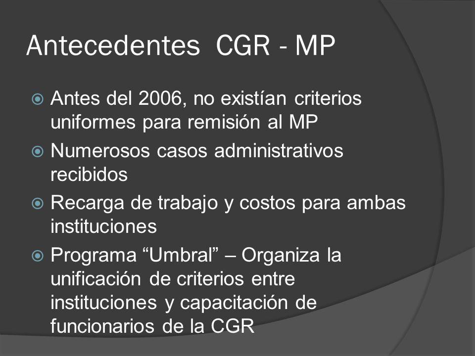 Antecedentes CGR - MP Antes del 2006, no existían criterios uniformes para remisión al MP Numerosos casos administrativos recibidos Recarga de trabajo y costos para ambas instituciones Programa Umbral – Organiza la unificación de criterios entre instituciones y capacitación de funcionarios de la CGR