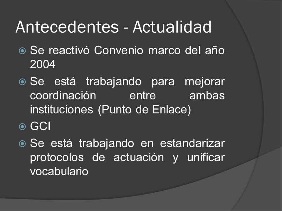 Antecedentes - Actualidad Se reactivó Convenio marco del año 2004 Se está trabajando para mejorar coordinación entre ambas instituciones (Punto de Enlace) GCI Se está trabajando en estandarizar protocolos de actuación y unificar vocabulario