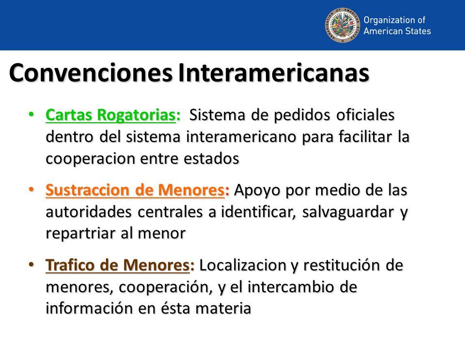 Convenciones Interamericanas Cartas Rogatorias: Sistema de pedidos oficiales dentro del sistema interamericano para facilitar la cooperacion entre est