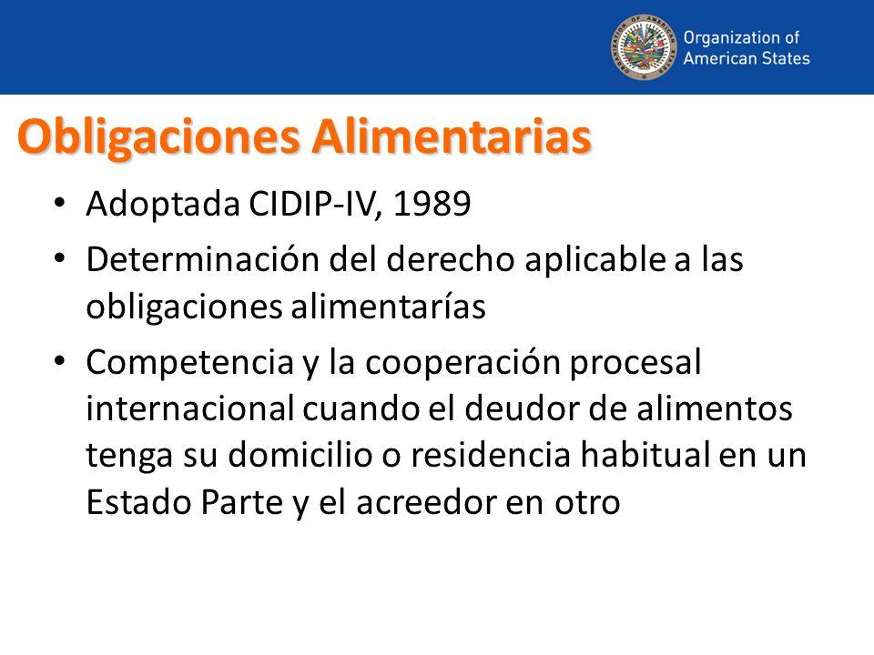 Obligaciones Alimentarias Adoptada CIDIP-IV, 1989 Determinación del derecho aplicable a las obligaciones alimentarías Competencia y la cooperación pro