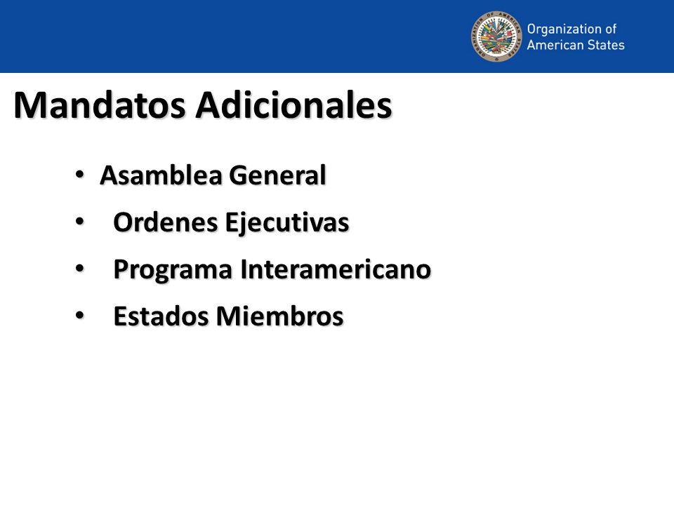 Mandatos Adicionales Asamblea General Asamblea General Ordenes Ejecutivas Ordenes Ejecutivas Programa Interamericano Programa Interamericano Estados M