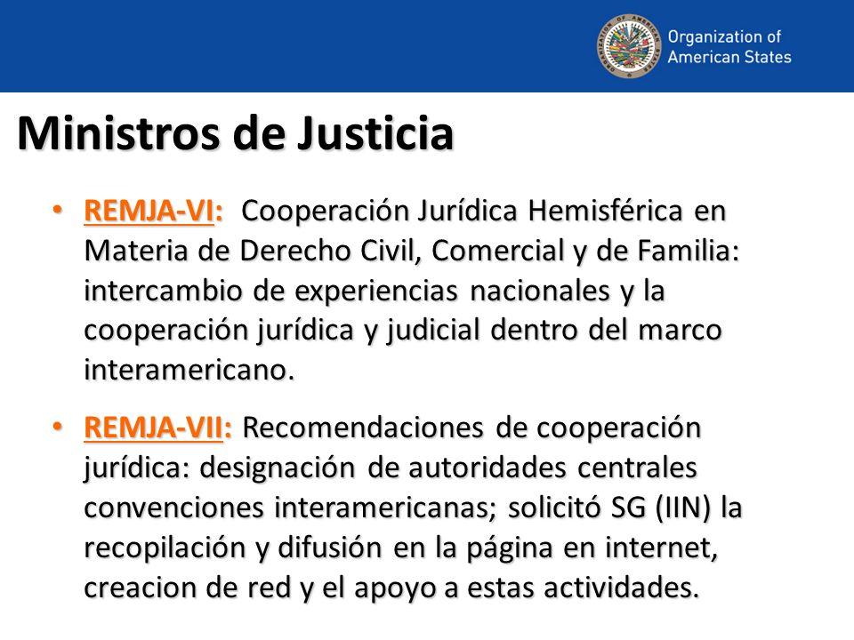 REMJA-VIII Fortalecer la cooperación jurídica y judicial en el marco del sistema interamericano derecho de familia: adopción, restitución y alimentos Satisfacción por la realización Reunión Piloto de la Red de Cooperación Jurídica Solicitar al DDI que continúe con los preparativos de la Red de Cooperación Solicitar al DDI que continúe con la elaboración de las herramientas de la Red Presente un informe sobre los resultados de esta iniciativa a la REMJA IX Alentar a los Estados que designen a autoridades competentes para la Red Respondan al cuestionario para los componentes público y privado Solicitar DDI consulte Estados sobre establecimiento de un grupo de trabajo Elabore propuesta para el grupo de trabajo, tales como el mandato, métodos de trabajo y recursos para la consideración de la REMJA IX Reiterar ratificar el Convenio de La Haya sobre el Cobro Internacional de Alimentos con respecto a los Niños y otras formas de Manutención de la Familia.
