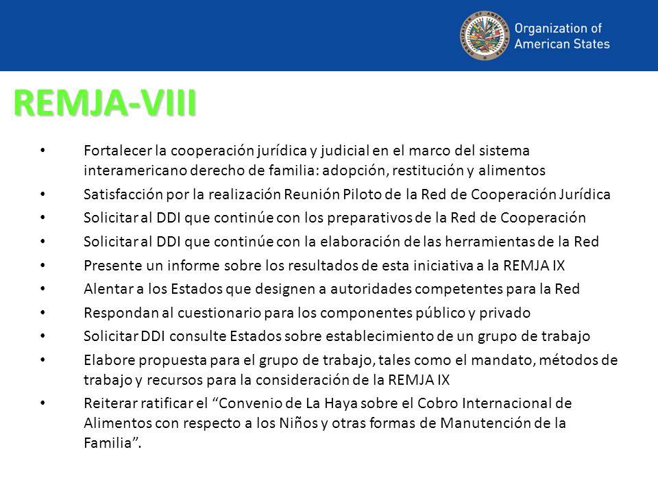 REMJA-VIII Fortalecer la cooperación jurídica y judicial en el marco del sistema interamericano derecho de familia: adopción, restitución y alimentos